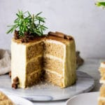 Cut out of chai spiced cake with brown butter buttercream