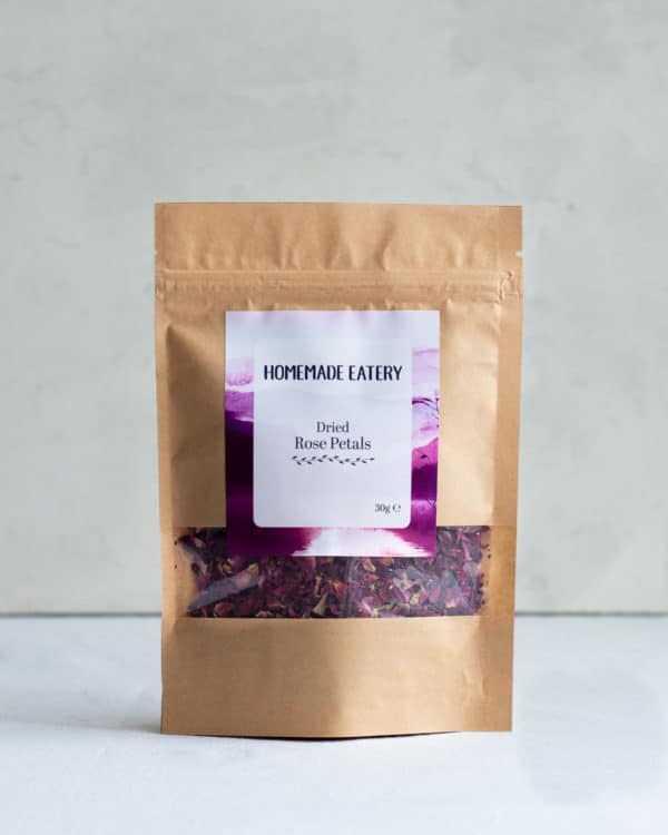 Dried Rose Petals in pouch on table