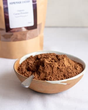 Organic Cacao Powder in bowl with spoon and pouch behind